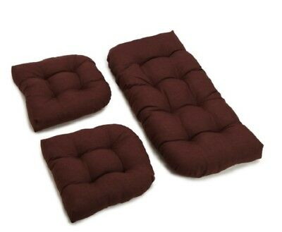 Outdoor All Weather 3pc Wicker Settee Chair CUSHION SET Dark Brown Solid ()