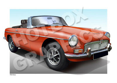 MGB MGBGT PRINT - PERSONALISED ILLUSTRATION OF YOUR CAR