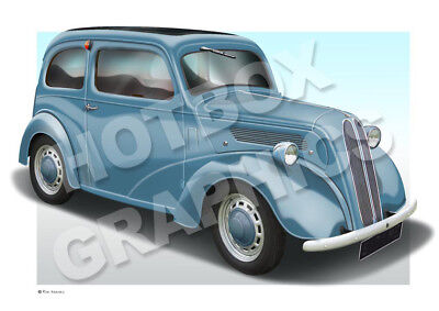 FORD POPULAR POP PRINT 103E PERSONALISED ILLUSTRATION OF YOUR CAR HOT ROD