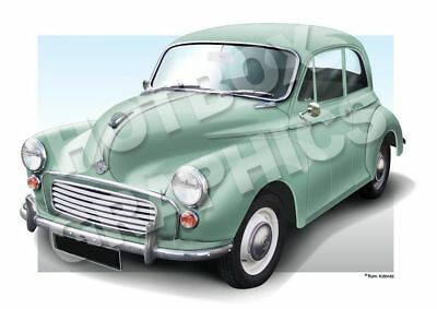 MORRIS 1000 MINOR PERSONALISED ILLUSTRATION OF YOUR CAR TRAVELLER