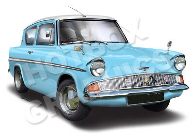 FORD ANGLIA 105E PERSONALISED PRINT OF YOUR CAR
