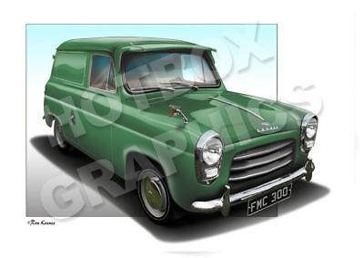 FORD 300E THAMES PERSONALISED ILLUSTRATION OF YOUR  ANGLIA POPULAR HOT ROD