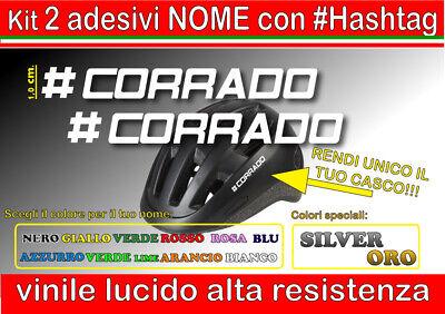 kit 2 adesivi CASCO NOME , HASHTAG, #hashtag, mtb, bici, corsa, moto,...