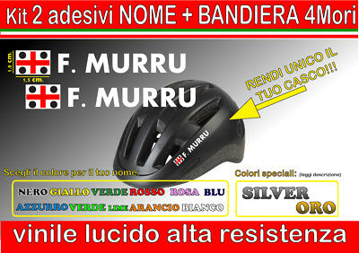 kit 2 adesivi CASCO NOME 4 MORI, sardegna, mtb, bici, corsa, casco...