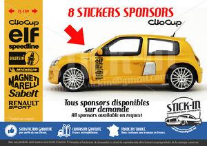 8 stickers autocollant sponsors renault clio cup rs 172 182 bilstein sabelt elf ebay. Black Bedroom Furniture Sets. Home Design Ideas