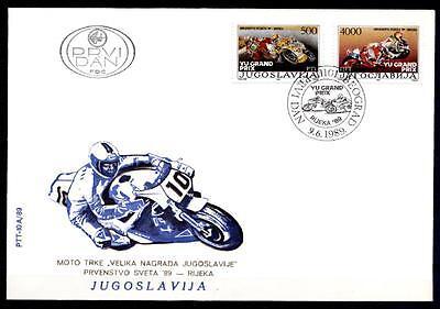 Motorrad-Weltmeisterschaftsläufe, Rijeka. FDCx2W. Jugoslawien 1989