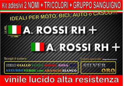 kit 2 adesivi NOME TRICOLORE GRUPPO SANGUIGNO, mtb, bici, casco,moto, monocolore