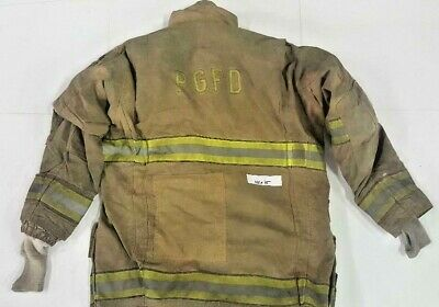 44x35 Globe Gxtreme Firefighter Turnout Jacket Brown Yellow Reflectivetape J785
