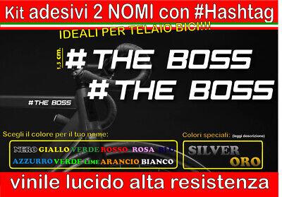 kit 2 adesivi NOME #HASHTAG XL, mtb, bici, corsa, casco, telaio, downhill,...