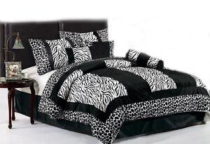 Black-White-Micro-Fur-Zebra-with-Giraffe-Design-Comforter-Set-Bed-In-A-Bag-New