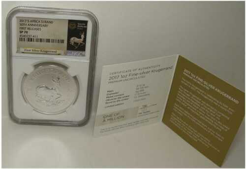 2017 S.Africa First Release 50th Anniversary 1 Oz. Silver Krugerrand NGC SP-70