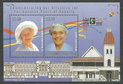 TONGA 2000 LONDON STAMP SHOW ROYALTY QUEEN MOTHER PENNY BLACK M/SHEETMNH