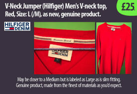 V-Neck style Jumper (Hilfiger) Mens, Red, Size: L(M), new, genuine product. £25