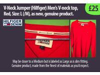 V-Neck style Jumper (Hilfiger) Mens, Red, Size: (M), new, genuine product. £25