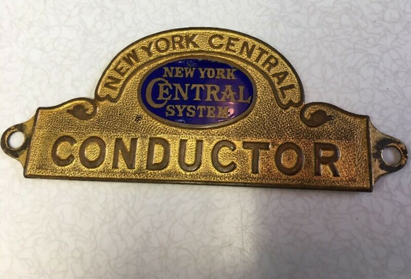 Vintage New York Central System Conductor Hat Badge - Railroad Subway Read*