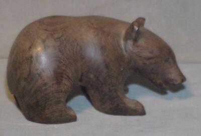 Vintage wooden bear figurine handcarved Handpainted naive bear sculpture Folk art bear Wooden saillor bear
