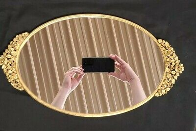 Matson Gold Vanity Tray Mirror with Rose Accents in Very Good Condition