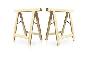 2 X Folding Wooden Trestle Sy Up To 130 Kg Load Each Uk Er