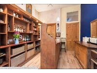 Solid Wood Sapele Stained Oak (?) Kitchen Units Unusual Reclaimed Church Pews