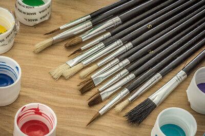 15pc Paint Brush Set Natural Hair Bristles Artist Paint Brush Art