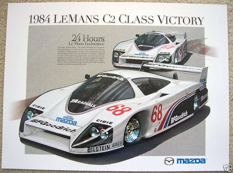 MAZDA OFFICIAL LE MANS 24 HOURS RACECAR CLASS VICTORY POSTER 1984.