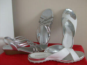 Size 6-6.5 Naturalizer Silver & Geox White Sandals - Like New