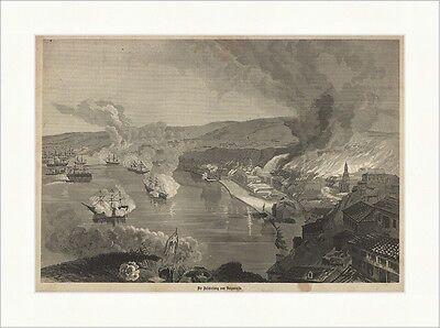 Beschießung von Valparaiso Chile Hauptstadt Gefecht Hafen Holzstich E 19335