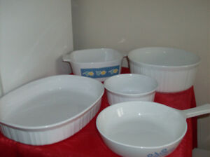 5 Pc.Corning Ware Dishes + Corelle + Teapot + Pots + Tea for Two