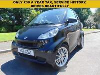 SUPERB 2011 AUTOMATIC SMART FORTWO 1.0 PASSION SERVICE HISTORY £30 A YEAR TAX