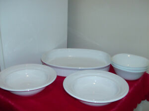 6 White Dishes, 3 New Glass Pitchers, Herb Mincer, Frying Pan