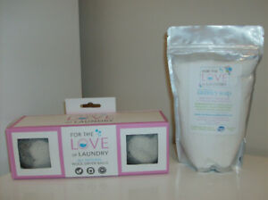 NEW Organic Unscented Laundry Soap + Dryer Balls +Tulip Lamp