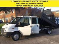 2012 12 FORD TRANSIT 2.2TDCI T350 LWB TIPPER DOUBLE CAB. 6 SEATS. LOW 53K MILES
