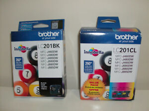 Bargain !!  2 NEW Brother Ink Cartridges #LC201BK & #LC201CL