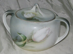 R.S. GERMANY PORCELAIN SERVING DISH WITH LILIES, c1940's
