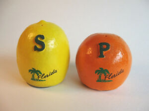 Vintage Florida Souvenir Salt and Pepper Shakers, Orange / Lemon