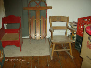 old baby furniture and sleigh