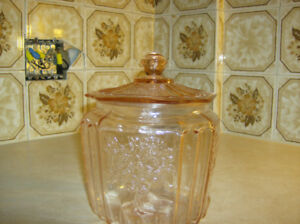 ancienne jar a biscuit rose depression glass rose