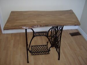 Antique Singer Sewing Stand with Olivewood Tabletop