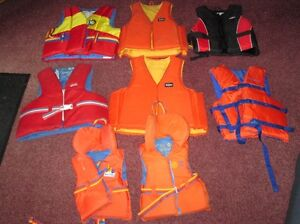 8 Life Jackets,Various Sizes, Small - Large