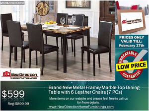 ◆Brand New 7PCS Metal/Marble Top Dining Set on Sale@NEWD◆