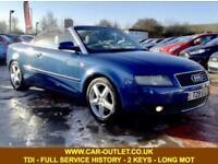 2003 AUDI A4 CABRIOLET SPORT 2.5 TDI FULL SERVICE HISTORY 2 KEYS LONG MOT