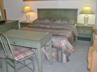 SPRING GREEN FINISH QUEEN BEDROOM SETS - $400 COMPLETE