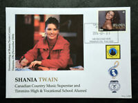 Shania Twain Stamp Collectible Envelope/Cover postmarked Timmins