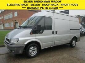 2006 06 FORD TRANSIT 2.0TDCI T280 MWB MEDIUM HIGH ROOF TREND. SILVER. DRIVES NIC
