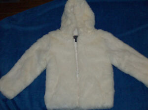 Faux Fur White Coat - Girls Size 7/8  Immaculate Condition