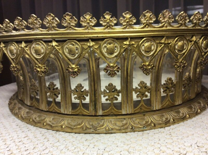 2 PC 19th CENTURY ANTIQUE GOTHIC GILT BRONZE WITH GLASS BOWL INSERT