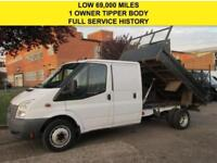 2012 12 FORD TRANSIT 2.2TDCI T350 TIPPER DOUBLE CAB PICK UP. LOW 69K. FSH. 1 OWN