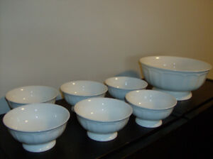 NEW Thailand 7 Pc White Bowls + Depression Glass + Gravy Boat