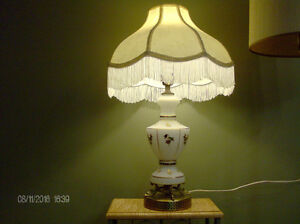 Vintage Lamp, White with Gold Embossed Flowers, Brass Base