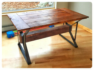 Industrial steel and barn board table